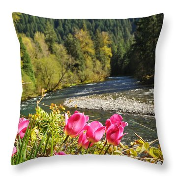 Throw Pillow featuring the photograph  Mckenzie River Tulips by Mindy Bench
