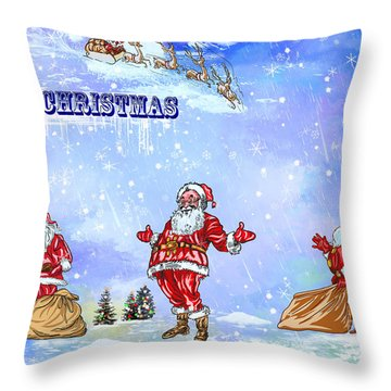 Throw Pillow featuring the painting  Merry Christmas To My Friends In The Faa by Andrzej Szczerski
