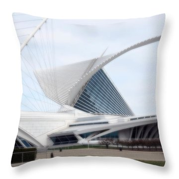 Throw Pillow featuring the photograph  Milwaukee Art Museum by Kay Novy