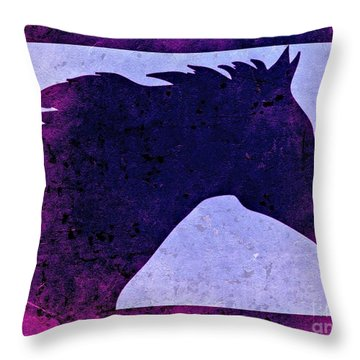 Throw Pillow featuring the digital art  Mindy's Purple Horse  by Mindy Bench