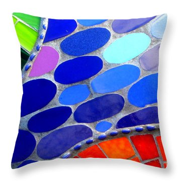 Mosaic Abstract Of The Blue Green Red Orange Stones Throw Pillow by Michael Hoard