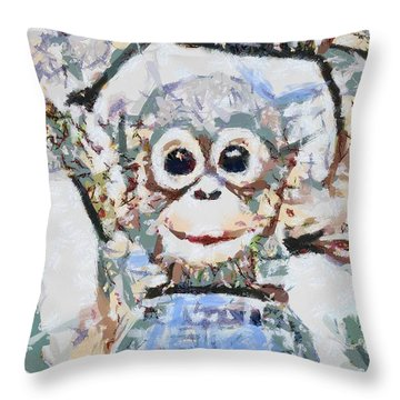 Monkey Rainbow Splattered Fragmented Blue Throw Pillow