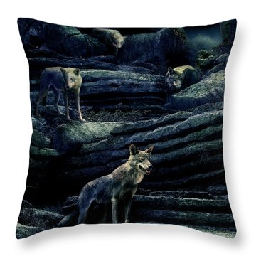 Moonlit Wolf Pack Throw Pillow by Mal Bray