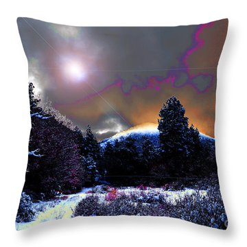 Moonrise On Kiva Mountain Throw Pillow by Susanne Still