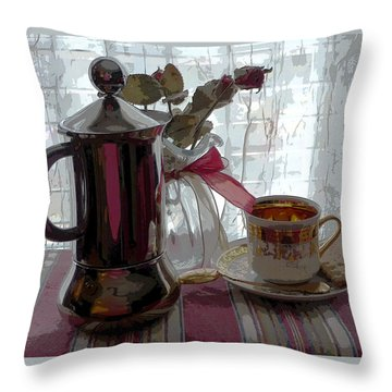 Morning Coffee Throw Pillow by Margie Avellino