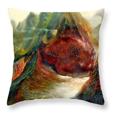 Mountains Fire Throw Pillow by Henryk Gorecki