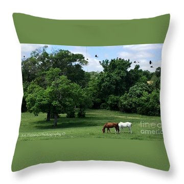 Throw Pillow featuring the photograph  Mr. And Mrs. Horse - No. 195 by Joe Finney
