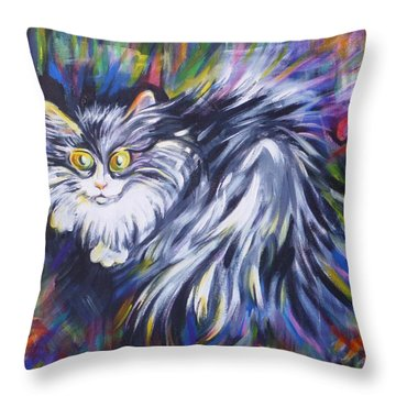 Throw Pillow featuring the painting  Mrs.curiosity  by Anna  Duyunova