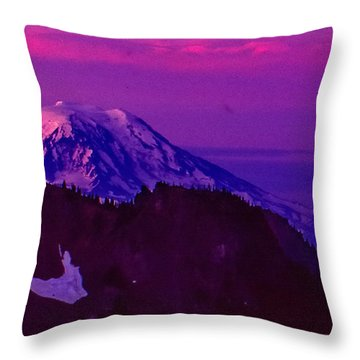 Mt. Rainier Sunrise Throw Pillow