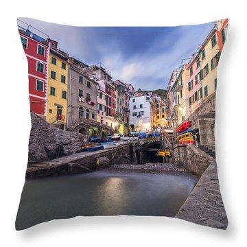 Notte A Riomaggiore Throw Pillow
