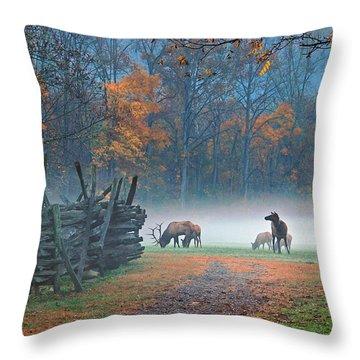 Oconaluftee Visitor Center Elk Throw Pillow