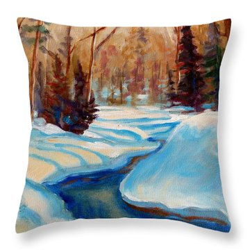 Peaceful Winding Stream Throw Pillow by Carole Spandau