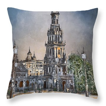 Plaza De Espana In Seville Throw Pillow