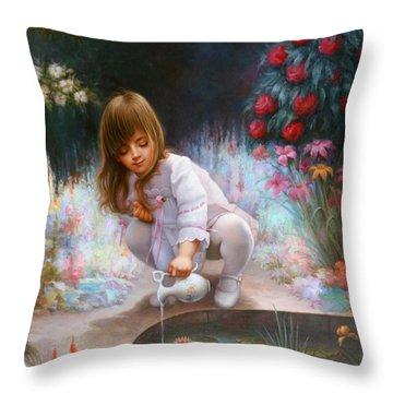 Pond And Girl Throw Pillow