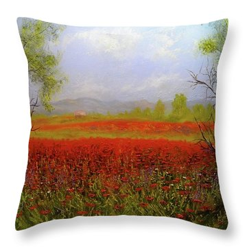 Poppie Morning 2 Throw Pillow