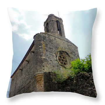 Throw Pillow featuring the photograph  Pubol Spain Church by Gregory Dyer