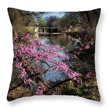 Redbuds And A Distant Bridge Throw Pillow