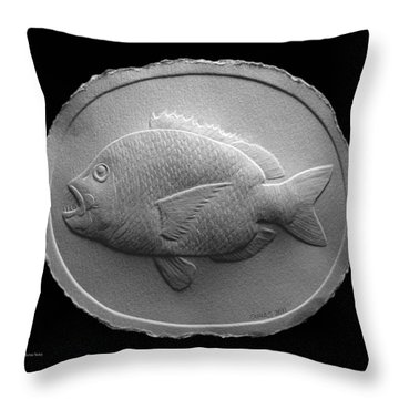 Relief Saltwater Fish Drawing Throw Pillow