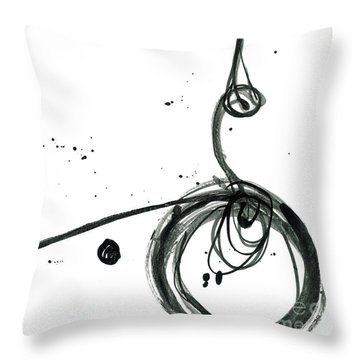 Revolving Life Collection - Modern Abstract Black Ink Artwork Throw Pillow