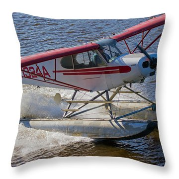River Take Off In Fairbanks Throw Pillow by Allan Levin
