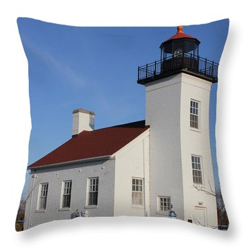 Sand Point Lighthouse Escanaba Throw Pillow