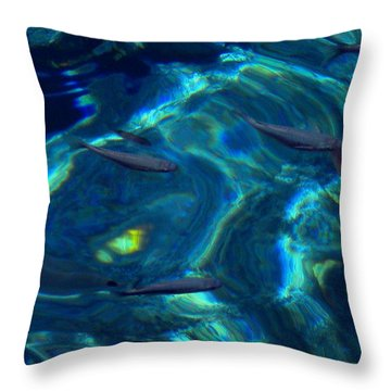 Throw Pillow featuring the photograph  Santorini  Ocean Water Reflections Greece by Colette V Hera  Guggenheim