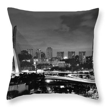 Sao Paulo Iconic Skyline - Cable-stayed Bridge - Ponte Estaiada Throw Pillow