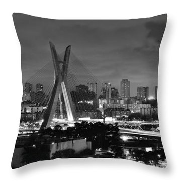 Sao Paulo Iconic Skyline - Cable-stayed Bridge - Ponte Estaiada Throw Pillow