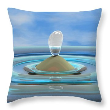 ' Sea Creature Descends ' - Digital Art Format Throw Pillow