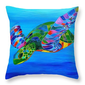 Abstract Mehndi Sea Turtle  Throw Pillow