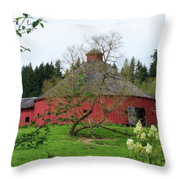 Spring At The Round Barn Throw Pillow
