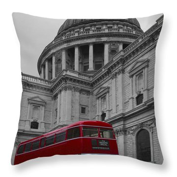 St Pauls Cathedral Red Bus Throw Pillow
