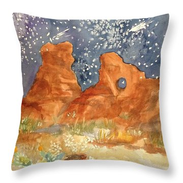 Starry Night In The Desert Throw Pillow