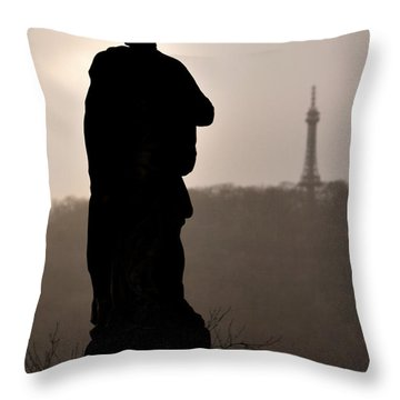 Statue And Petrin Tower Throw Pillow
