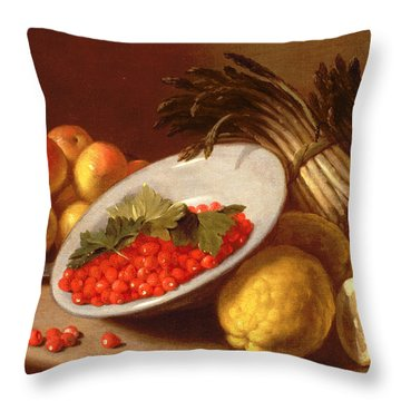 Still Life Of Raspberries Lemons And Asparagus  Throw Pillow