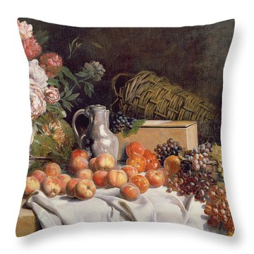 Still Life With Flowers And Fruit On A Table Throw Pillow by Alfred Petit