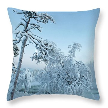 Magic Blue  Storforsen Waterfall  Throw Pillow
