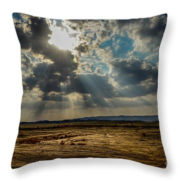 Stormy  Light Rays  Throw Pillow by Arik Baltinester