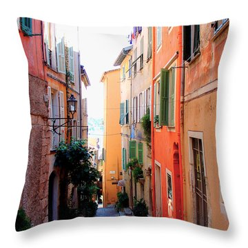 Streets Of Villefranche  Throw Pillow by Julie Palencia