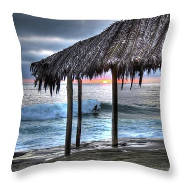 Sunset Surfing Throw Pillow
