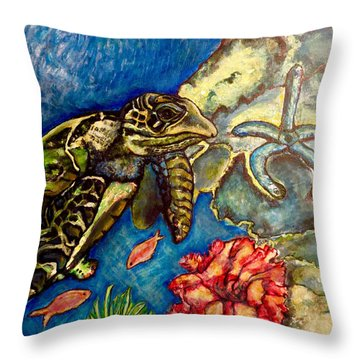 Sweet Mystery Of The Sea A Hawksbill Sea Turtle Coasting In The Coral Reefs Original Throw Pillow
