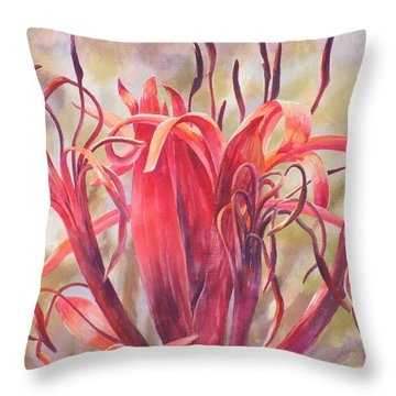 Tendrils Gymea Lily   Throw Pillow by Ekaterina Mortensen