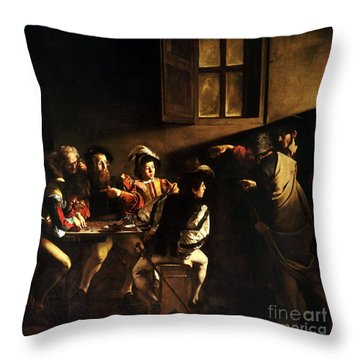 Throw Pillow featuring the painting  The Calling Of Saint Matthew by Caravaggio