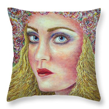 The Flower Girl Throw Pillow by Natalie Holland