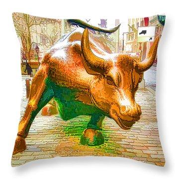 The Landmark Charging Bull In Lower Manhattan  Throw Pillow