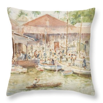 The Market Belize British Honduras Throw Pillow