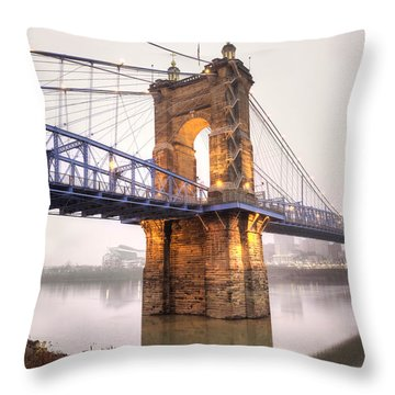 The Roebling Bridge Throw Pillow