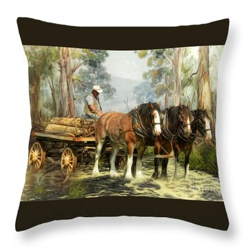 Throw Pillow featuring the digital art  The Timber Team by Trudi Simmonds