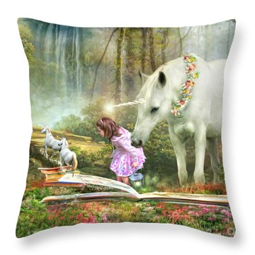 Throw Pillow featuring the digital art  The Unicorn Book Of Magic by Trudi Simmonds