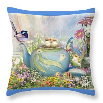 Throw Pillow featuring the digital art  Tiny Tea Party by Trudi Simmonds